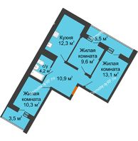 3 комнатная квартира 60,4 м² в ЖК Грани, дом Литер 4 - планировка