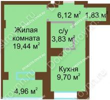 1 комнатная квартира 45,89 м² - ЖК Подкова Приокская
