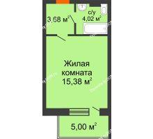 Студия 32,38 м² в ЖК Гвардейский 3.0, дом Секция 3 - планировка