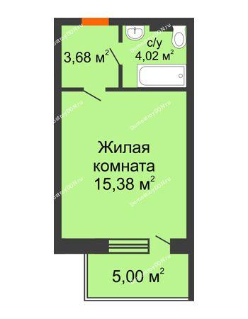 Студия 32,38 м² в ЖК Гвардейский 3.0, дом Секция 3
