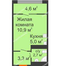 Студия 26,6 м² в ЖК Новая Кузнечиха, дом № 31 - планировка