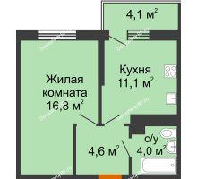 1 комнатная квартира 37,7 м² в ЖК Отражение, дом Литер 2.2 - планировка