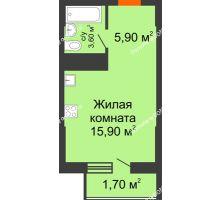 Студия 27,1 м², ЖК Клубный дом на Мечникова - планировка