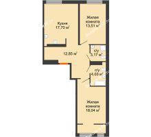 2 комнатная квартира 69,3 м² в ЖК Тесла Парк, дом ГП-2 - планировка