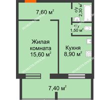 1 комнатная квартира 39,6 м² в ЖК Удачный 2, дом № 1 - планировка
