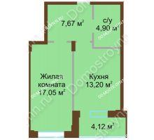 1 комнатная квартира 46,94 м² в ЖК Солнечный город, дом на участке № 208 - планировка