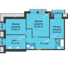 3 комнатная квартира 86,6 м², Жилой дом: г. Дзержинск, ул. Кирова, д.12 - планировка