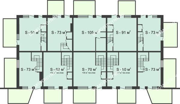 Планировка 1 этажа в доме № 44 (от 73 до 105 м2) в КП Баден-Баден