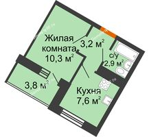 1 комнатная квартира 24 м² в ЖК Грани, дом Литер 4 - планировка