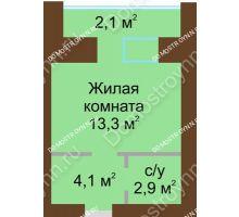 Студия 24,5 м² в ЖК Рубин, дом № 67 - планировка