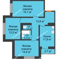 3 комнатная квартира 77,5 м² в ЖК Задонье, дом Позиция 2 - планировка