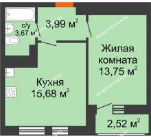 1 комнатная квартира 39,61 м² в ЖК Книги, дом № 2 - планировка