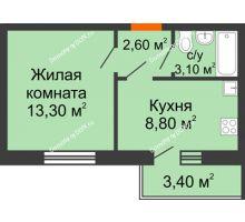 1 комнатная квартира 28,8 м², ЖК Ленина, 187 - планировка