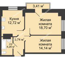 2 комнатная квартира 57,29 м² в ЖК Сердце Ростова, дом Этап I
