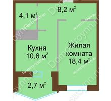 1 комнатная квартира 44 м² в ЖК Монолит, дом № 89, корп. 1, 2 - планировка