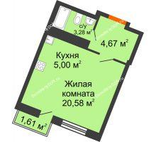 Студия 29,07 м² в ЖК Мечников, дом ул. Мечникова, 37 - планировка