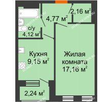 1 комнатная квартира 38,48 м² - Дом на Чаадаева