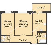 2 комнатная квартира 54,29 м² в ЖК Соловьиная роща, дом № 7 - планировка