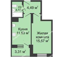 1 комнатная квартира 38,72 м² в ЖК Красная поляна, дом № 6