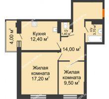 2 комнатная квартира 58,2 м² в ЖК Вересаево, дом Литер 5/1 - планировка
