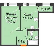 1 комнатная квартира 40 м² в ЖК Андерсен парк, дом ГП-2 - планировка