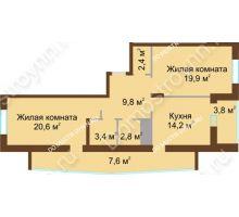 2 комнатная квартира 84,5 м² в ЖК Монолит, дом № 89, корп. 1, 2 - планировка