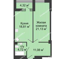 1 комнатная квартира 57,9 м², ЖК Бристоль - планировка