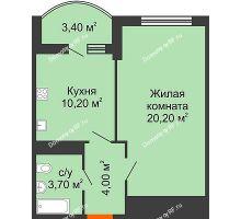 1 комнатная квартира 39,8 м² в ЖК Fresh (ЖК Фреш), дом Литер 2 - планировка