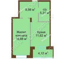 1 комнатная квартира 46,49 м² в ЖК Солнечный город, дом на участке № 208 - планировка