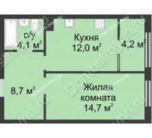 1 комнатная квартира 43,7 м² в ЖК Славянский квартал, дом № 5а, 7