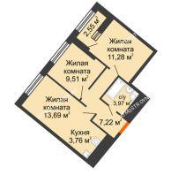 2 комнатная квартира 50,71 м² в ЖК Дом на Набережной, дом № 1 - планировка