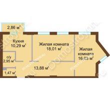 2 комнатная квартира 63,49 м² в ЖК Солнечный, дом № 4