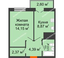 1 комнатная квартира 35,91 м² - ЖК Комарово