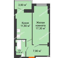 1 комнатная квартира 40,5 м², ЖК Уютный дом на Мечникова - планировка