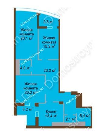 3 комнатная квартира 118,4 м² в ЖК Монолит, дом № 89, корп. 1, 2