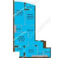 3 комнатная квартира 118,4 м² в ЖК Монолит, дом № 89, корп. 1, 2 - планировка