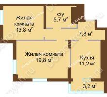 2 комнатная квартира 61,5 м² - ЖК Подкова Сормовская
