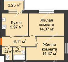 2 комнатная квартира 50,8 м² - Жилой дом: г. Дзержинск, ул. Буденного, д.11б