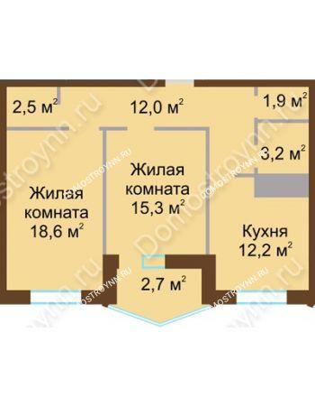 2 комнатная квартира 68,4 м² в ЖК Монолит, дом № 89, корп. 1, 2
