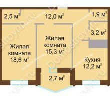 2 комнатная квартира 68,4 м² в ЖК Монолит, дом № 89, корп. 1, 2 - планировка
