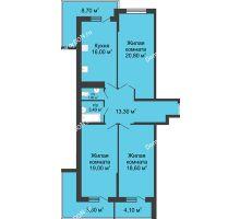 3 комнатная квартира 104,2 м² в ЖК Первый, дом Литер 1 - планировка