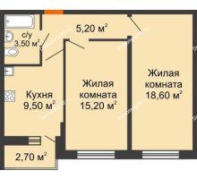 2 комнатная квартира 53,1 м² в ЖК Победный, дом Литер 3 - планировка